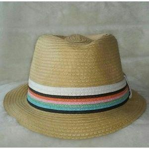 Tan Multicolor Band Fedora
